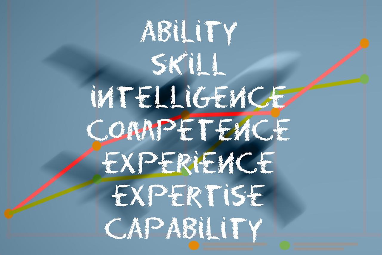 Nuage de mots concernant les formations : agilité, compétences, intelligence, expérience, expertise.