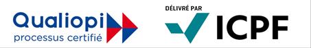 Logos de Qualiopi et ICPF, certification obtenue par CF Evolution.