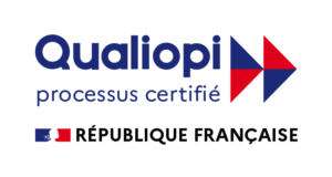 Logo de Qualiopi, certification obtenue par CF Evolution.